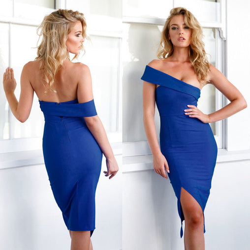 One Shoulder Bodycon Sleeveless Celebrity Elegant Vintage Sexy Split New Years Party Dress