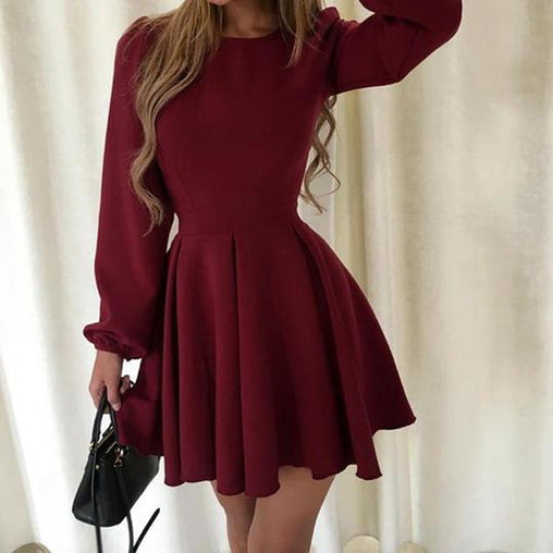 Burgundy Casual O Neck Sweet Pleated Long Sleeved Party Club Short Elegant Swing Dresses