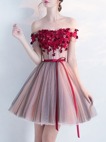 Burgundy Off The Shoulder Short Homecoming Wedding Evening Gown Dress