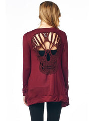 Casual Long Sleeve Back Hollow Skull Cotton Knit Cardigan