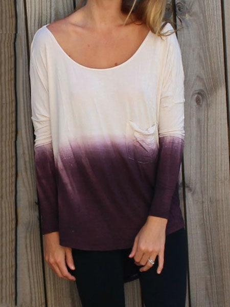 Casual Loose Gradient Tie-dye Open Back Long Sleeves T-shirt