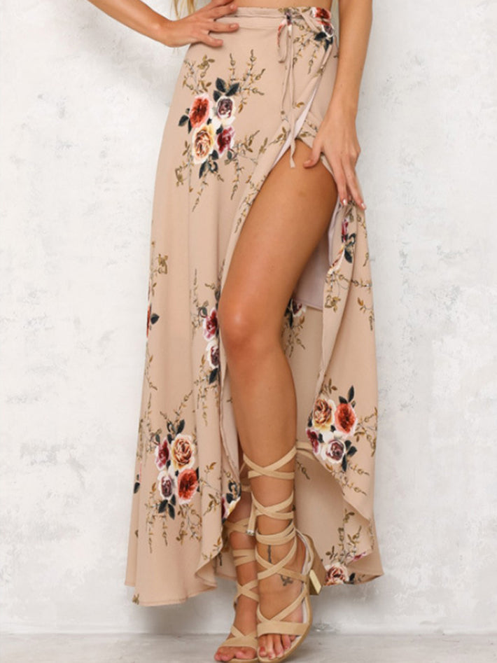 Beach Casual High Slit Floral Printed Irregular Maxi Long Skirt