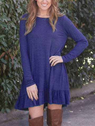 Casual Loose Round Neck Long Sleeve Short Swing Dress