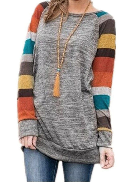 Grey Casual Long Sleeves Loose Striped Cotton T-shirt