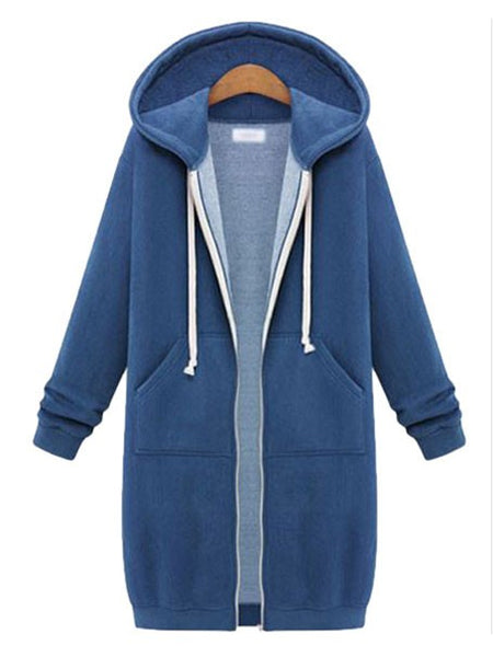 Women Casual Zip Up Thick Long Hoodies Outerwear Tunic Sweatshirt