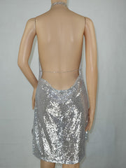 Sexy Drap Deep V Halter Backless Metallic Split Chain Club Dress
