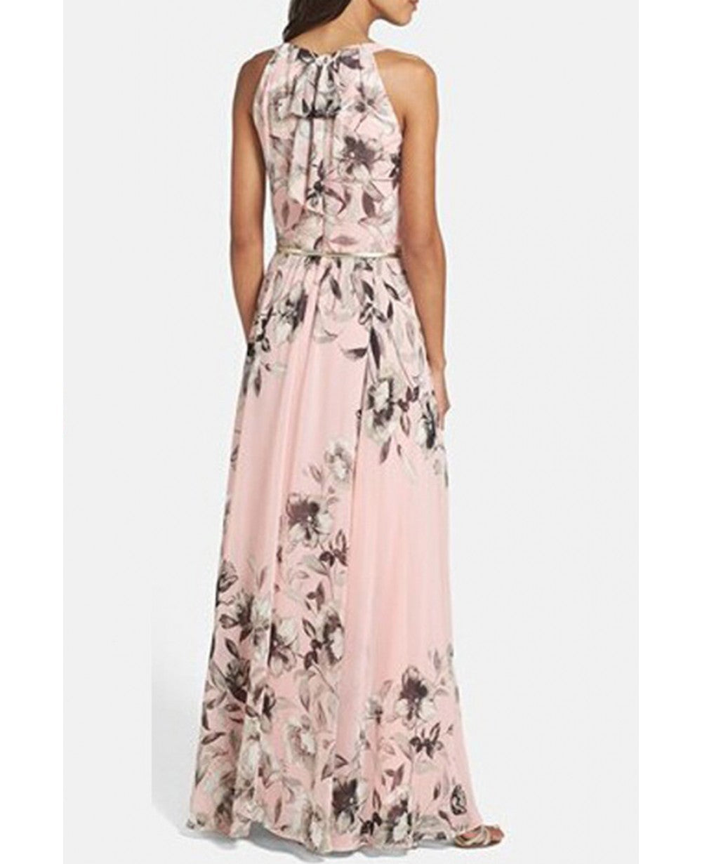 Summer Charming Floral Printed Sleeveless Long Party Maxi Dress