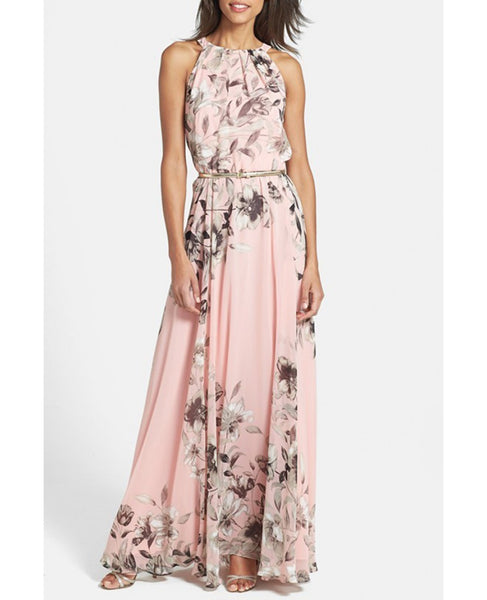 a842c3ba29f Summer Charming Floral Printed Sleeveless Long Party Maxi Dress. Pink.  VSChic