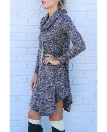 Grey Long Sleeve Turtle Neck Asymmetrical Hem Knit Sweater Dress