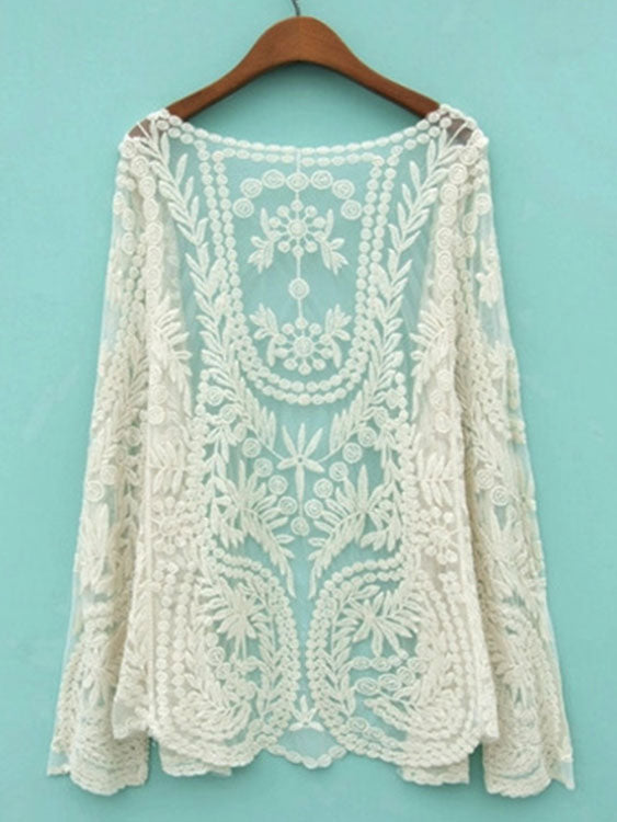 Cute Beige Long Sleeve Crochet Net Lace Cardigan