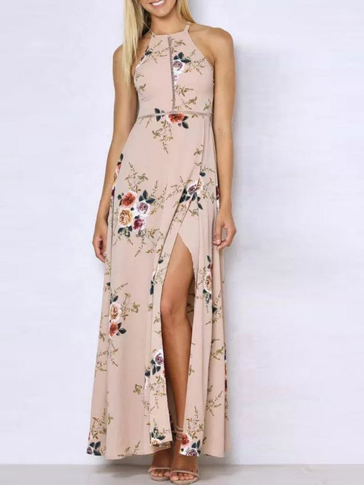 Holiday Sexy Elegant Halter Neck Floral Print Maxi Dress