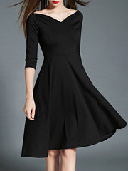 Elegant Little Black Dresses Half Sleeve Cocktail Audrey Hepburn Dress