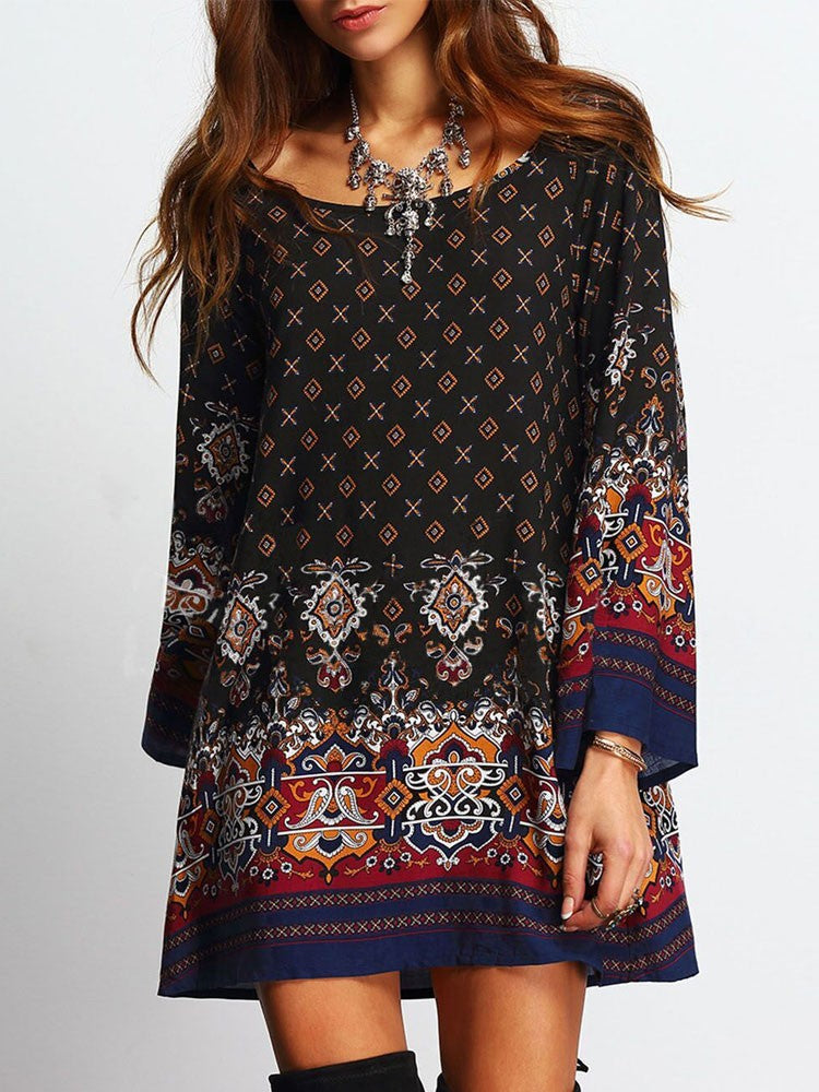 Summer Baroque Print Casual Long Sleeve Plus Size Black Short Dress