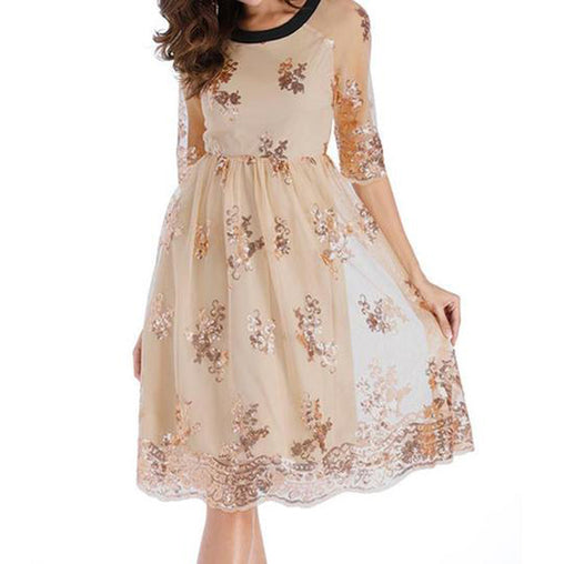 f9e300ea92937 Fall Spring Elegant Lace Patchwork Sequins O-neck Half Sleeves Party Midi  Dress. Champagne. VSChic