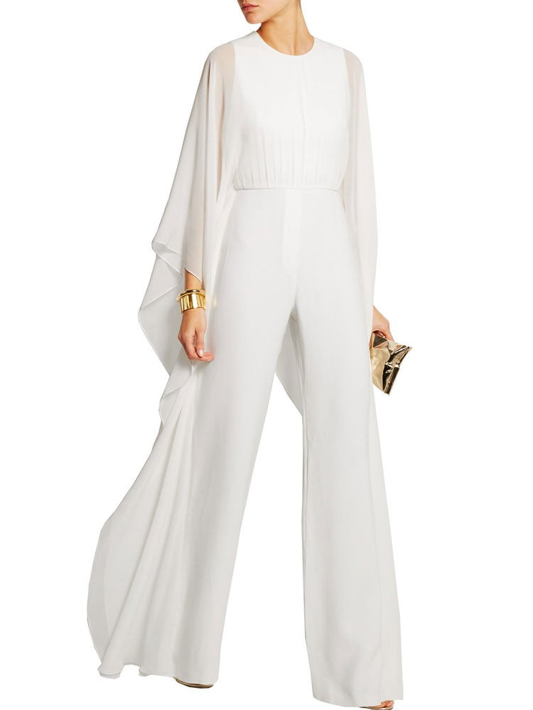 Fashion Solid Color High Waist Bat Long Sleeves Chiffon Jumpsuit