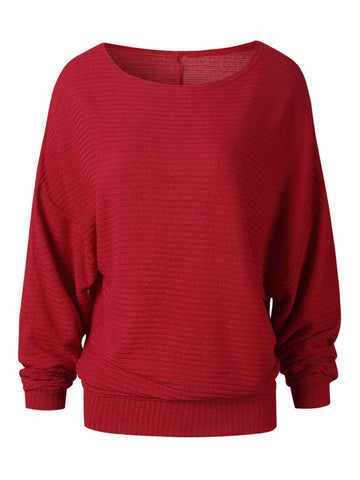 Fall Fashion Loose Bat Sleeve Pullover Knit Sweater
