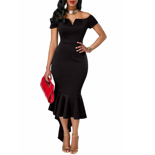 Fashion Black Off the Shoulder Short Sleeve Party Club Mermaid Dress