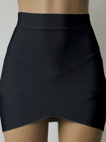 Fashion Cross Bandage Candy-Colored Bodycon Skirt