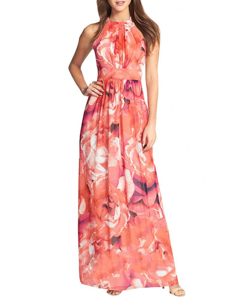 Fashion Red Rose Flowers Print Sleeveless Halter Maxi Evening Dress