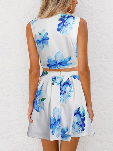 Fashion Sleeveless Flowers Print Two Piece A-line Summer Short Dress