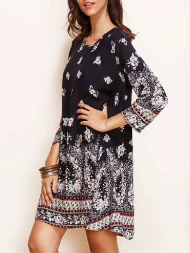 Fall Boho Style Flowers Printed Three-quarter Sleeve Swing Dress