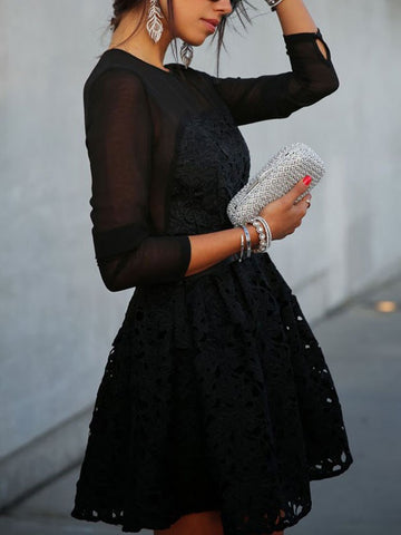 Black Gauze Stitching Lace Long Sleeve Short Dress