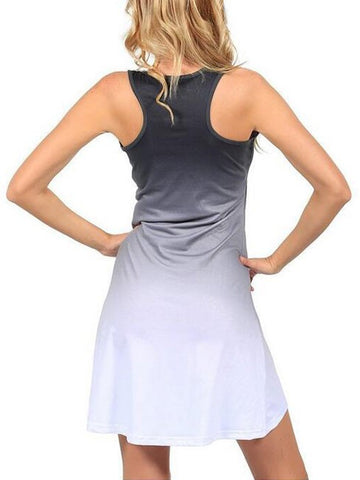 Gradient Color Sleeveless U-neck Summer Vest Mini Sundress