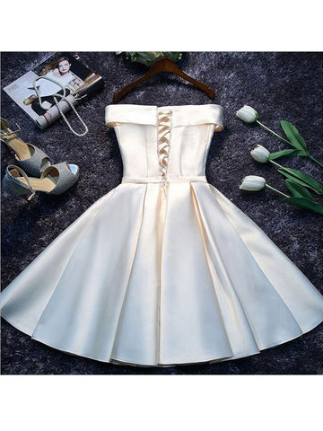 Homecoming Off Shoulder Bow Short Evening Graduation Dress
