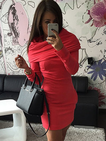 Casual Hoodies Long Sleeve Hooded Midi Sweatshirt Dress
