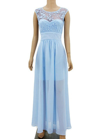 Light Sky Blue Lace Chiffon Long Bridesmaid Prom Dress