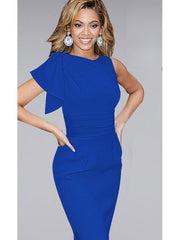 Plue Size Elegant Ruffle Fitted Stretch Slim Wiggle Pencil Sheath Dress