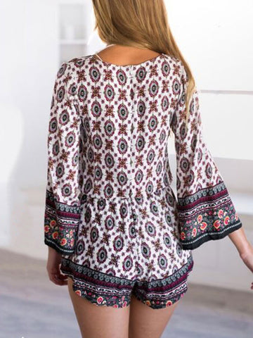 Sexy Summer Long Sleeve Print V-neck Rompers