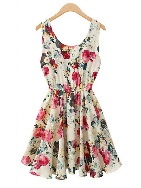 Summer Floral Printed Vest Mini Short Chiffon Dress