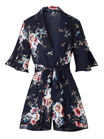 Fashion Flowers Print V-neck Loose Half Sleeve Rompers with Belt