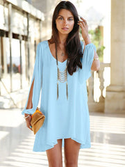 Plus Size Summer Casual Short Mini A Line Chiffon Loose Dress
