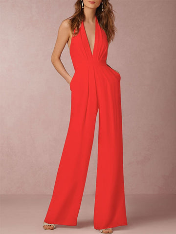 Fashion V-neck Sleeveless Halter Backless Strappy Wide Leg Jumpsuit