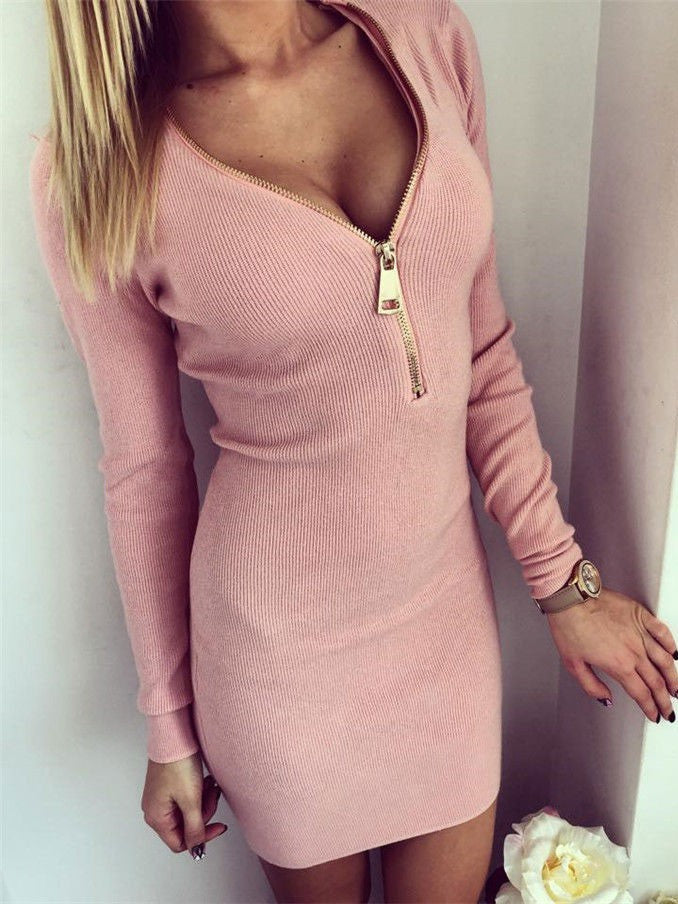Fall/Winter Sexy V-neck Zipper Long Sleeve Short Bodycon Dress