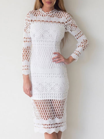 Fall Sexy See Through Long Sleeve White Lace Midi Dress