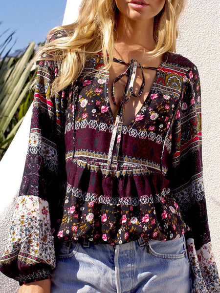 Floral Print Bohemia Tops Long Sleeve V Neck Blouse