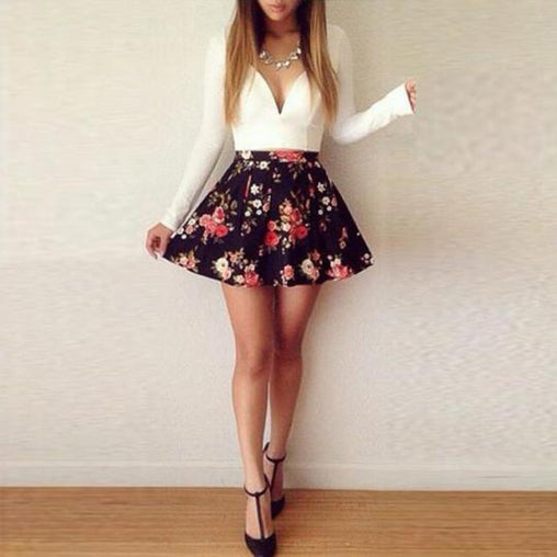 Floral Print V Neck Long Sleeve Casual Short Pleated Mini Dress