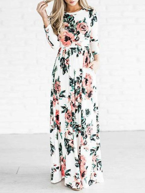 Flowers Printed Long Sleeves Elastic Waist Maxi Dress