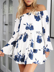 Long Sleeve Flowers Print Off The Shoulder Short White Dress