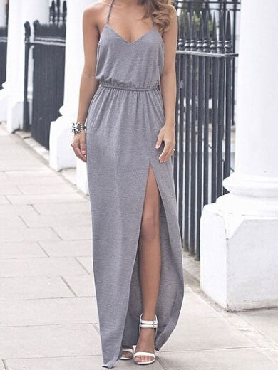 Gray V-neck Sleeveless Open Back Twist T-shaped Maxi Split Dress