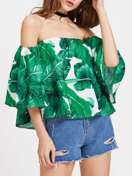 Beach Summer Green Palm Leaf Off The Shoulder Top