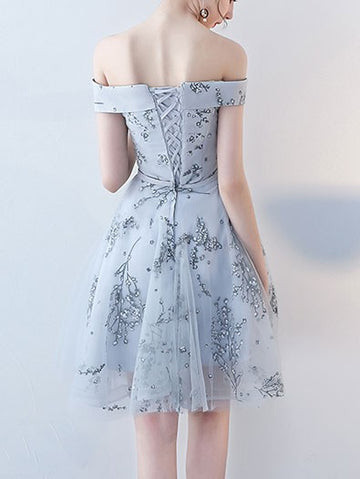 Grey Off The Shoulder Flowers Sequins Short Homecoming Cocktail Dress