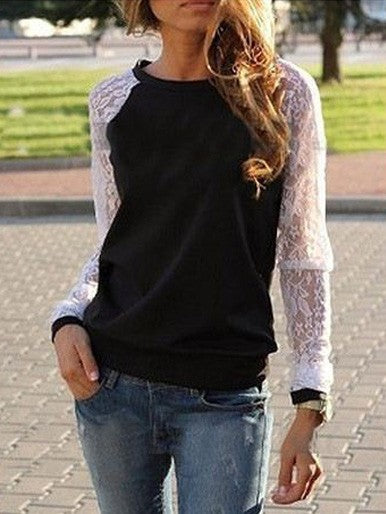 Fall Casual Loose Round Neck Long-Sleeved Lace Stitching T-Shirt