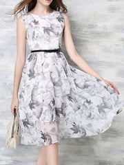 Summer Ink Print Sleeveless Chiffon White Midi Swing Dress