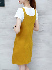 Casual Summer Fashion Pinafore Denim Overall Two Piece Dress