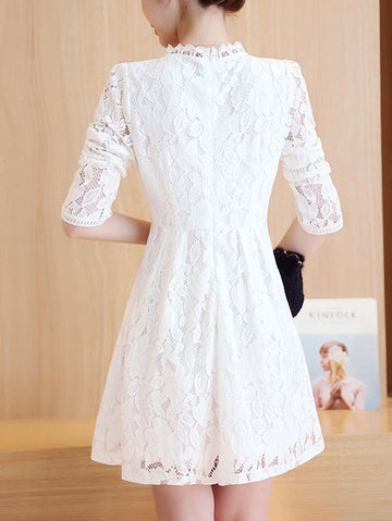 Stand Collar Single-breasted Long Sleeve High Waist Short A-line Lace Dress