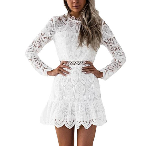 Lace Hollow Out Long Sleeves O-Neck Elegant Mini Dress